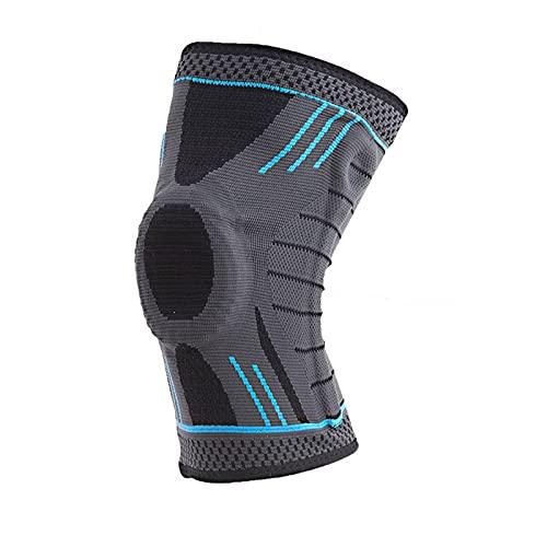 QQWW Rodilleras deportivas elásticas presurizadas para hombre, soporte de entrenamiento y baloncesto, voleibol, funda protectora 1023 (color: azul, tamaño: XXL)