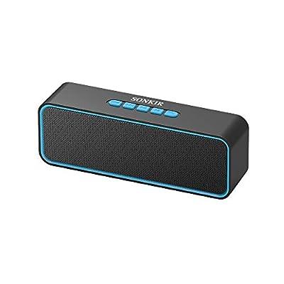 Sonkir Portable Bluetooth Speaker, TWS Bluetooth 5.0 Wireless Speaker with 3D Stereo Hi-Fi Bass, Built-in 1500 mAh Battery, 12H Playtime (Blue) from Sonkir