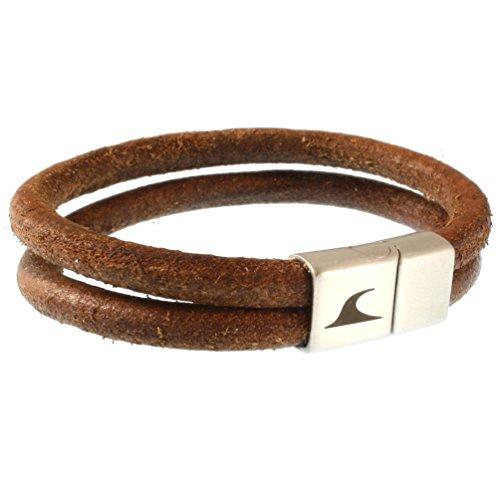 WAVEPIRATE® Echt Leder-Armband Tarifa R Cognac 22 cm Edelstahl-Verschluss in Geschenk-Box Surfer Männer Herren