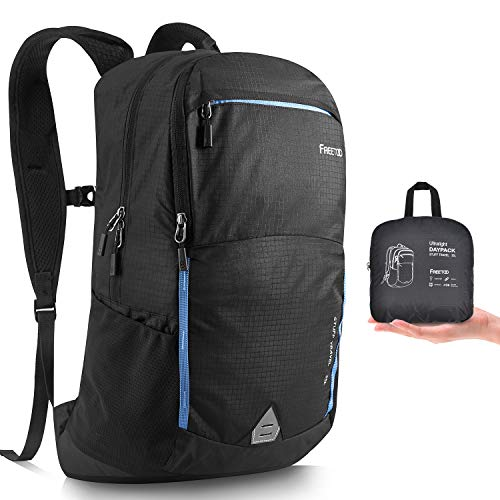 FREETOO Foldable Backpack 35L Hiking Backpack Lightwight Packable Travel Day Bag Waterproof Trekking Rucksack with Dry-wet separate design for Men Women Outdoor Camping Mountaineering Walking Cycling
