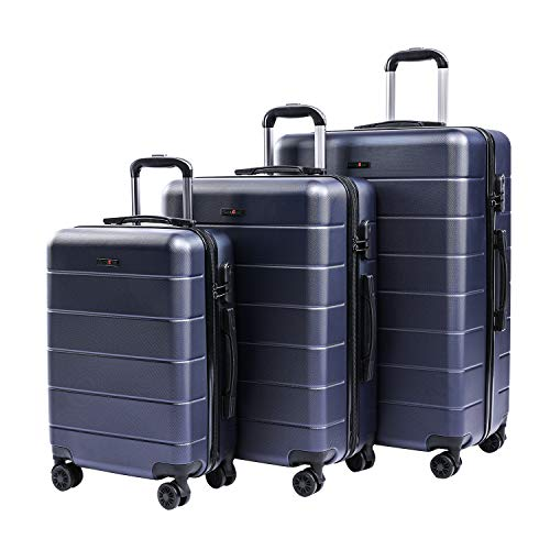 CarryOne Set di Trolley Valigie Rigidi Bagaglio a mano con 4 Rotelle Girevole Set da 3 Pezzi da Viaggio 55cm, 66cm, 76cm(Blu)