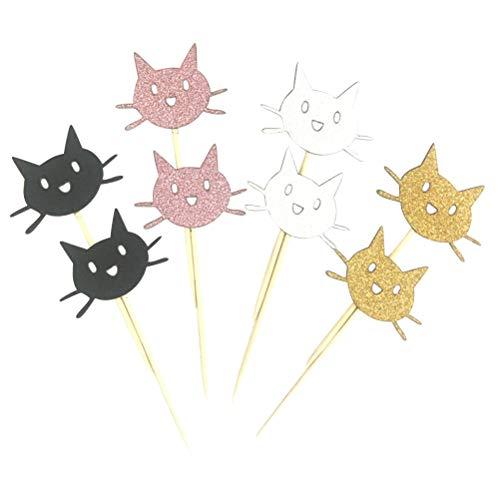 STOBOK Glitter Katze Kuchen Topper Dessert Kucheneinsatz Karte Geburtstag Party Dekoration 24st