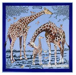 YDMZMS 130cm*130cm 100% Zijde Merk Zijde tekening Giraffe Zijde Vierkante Sjaal Mode Sjaal Dames Print Halsdoek 20x20 Inches Navy Blauw