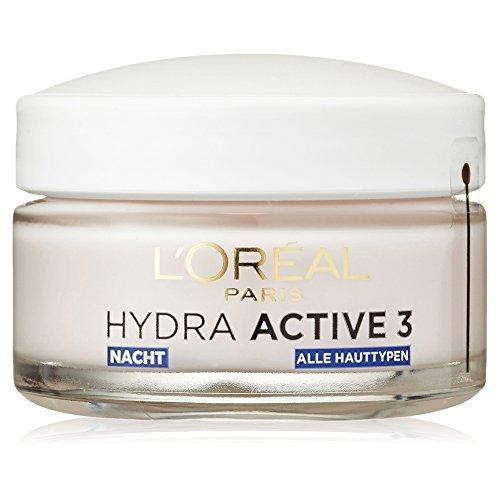 L'Oréal Paris Hydra Active 3 Nachtpflege mit Omega 3, Anti-Age Nachtcreme unterstützt die Regeneration der Haut, spendet intensiv Feuchtigkeit und Pflege, 50ml