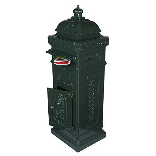 Antiker großer und sehr edler Briefkasten SLY 03 Standbriefkasten, Säulenbriefkasten, Nostalgischer Englischer Briefkasten Alu - Guss 102 cm hoch . Mit Postfacherweiterung für mehr Volumen.