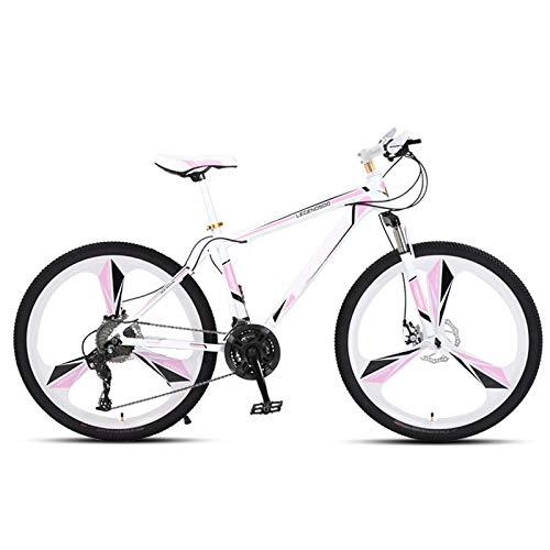 ndegdgswg Mountainbike, Damen White Powder Einrad Student 24 Zoll 30Gang Doppelscheibenbremse Fahrradrennen 24inches24speed Highcarbonsteelframe-threecutterwheels-whitepink
