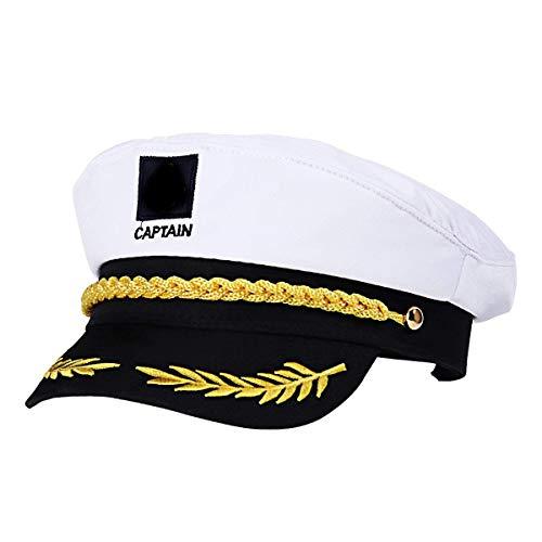 WENTS Capitán Adulto Sombrero de Cosplay Gorra Yate Barco Navegante Marinero Almirante Marino (Blanco)