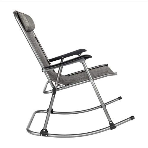 SANGDA Patio Rocking Chairs, Folding Zero Gravity Rocking Chair Padded Steel Rocker Chairs Beach Reclining Folding Chairs Portable Recliners for Lawn Beach Camping Poolside