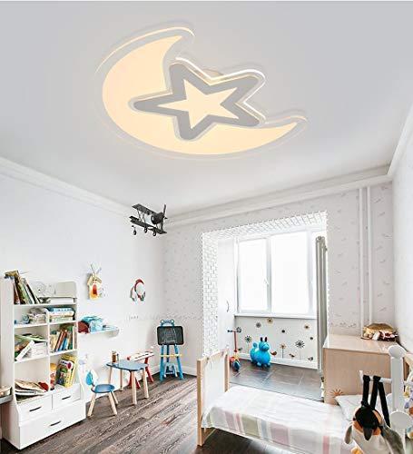 Style home 60W LED Deckenlampe ultra-dünn Deckenleuchte Kinderlampe ''Mond mit Stern'' warmweiß