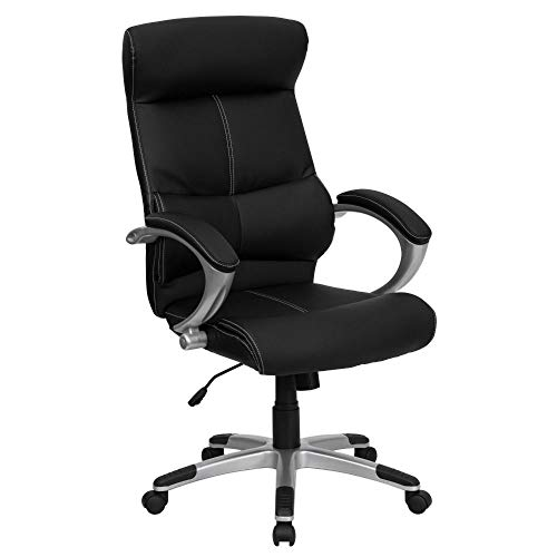 Flash Furniture High Back Black LeatherSoft Executive Swivel Office Chair with Curved Headrest and White Line Stitching, BIFMA Certified
