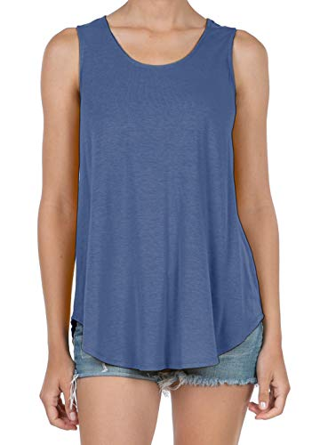 SHOP DORDOR 9052 Women's Soft Jersey Knit Scoop Neck Sleeveless Loose Tank Top Denim XL