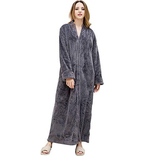AXIANQIPJS Womens Plus Size Robes Fleece Dressing Jurk Zachte Badjas Volledige lengte met Rits