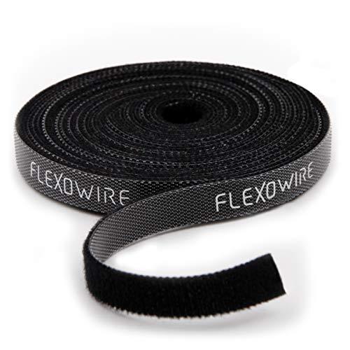 Flexowire Klett Kabelbinder 10mm x 5 m frei zuschneidbar - wiederverwendbar Kabelbinder Klettband Rolle Kabelmanager (5 m)
