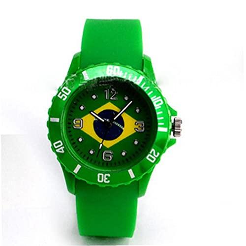 Copa del Mundo Unisex reloj de cuarzo analógico reloj de pulsera de la bandera de Brasil cuarzo de los deportes con silicona Brazalete, Brasil Bandera de pulsera