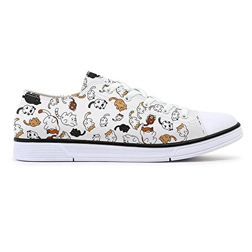 FIRST DANCE Cat Shoes for Women Cat Printed Shoes for Ladies Design Fashion Sneakers Low Tops Cute Shoes for Women US 8.5