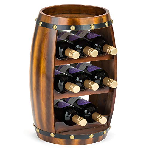 CHRISTOW Wooden Wine Rack Barrel, Free Standing With Top, 8 Bottle Holder, Oak Effect Storage, Gift For Wine Lover, H49cm