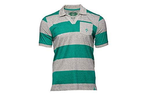 Werder Bremen GOTS Streifen Polo Shirt (S, grau/grün)