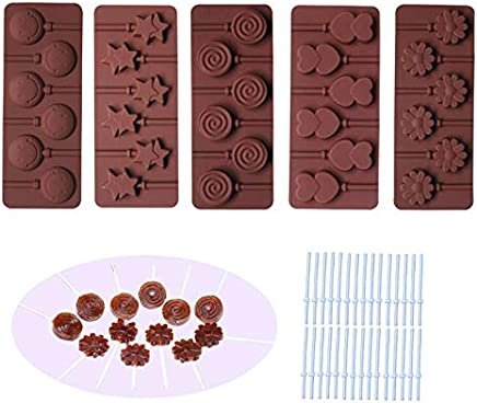 BAKER DEPOT Silicone chocolate Lollipop Mold with 6 Holes, Double Heart, Star, Small