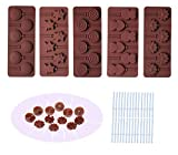 BAKER DEPOT Silicone chocolate Lollipop Mold with 6 Holes, Double Heart, Star, Small Flower, Smile Face, Round, Etc, Design, Set of 5