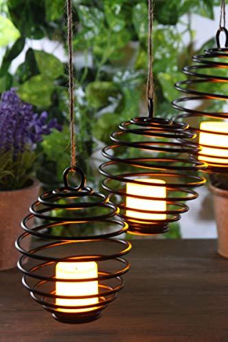 2er Set LED Kerzen zum Hängen oder Stellen mit Batterie Dekolicht Windlicht Hängelampe Tischdekoration
