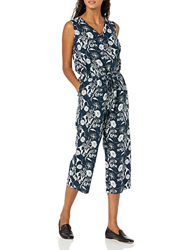 Amazon Essentials Sleeveless Linen Jumpsuit Overall, Marineblaues Blumenmuster, 40