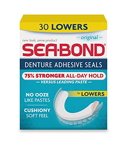 Sea Bond Secure Denture Adhesive Seals Lowers Original, Zinc Free, All Day Hold, Mess Free, 30 Count