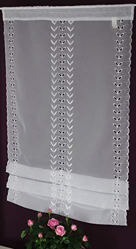 Albani Raffrollo mit Stangendurchzug, Stick-Clipsrollo Scheibengardine Fenster- und Türbehang Panneaux Voile Bestickt ca. 60 x 120 cm weiß