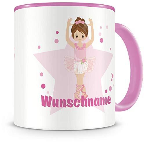Samunshi® Kinder-Tasse mit Namen und einer Süßen Ballerina als Motiv Bild Kaffeetasse Teetasse Becher Kakaotasse Nr.9: rosa H:95mm / D:82mm