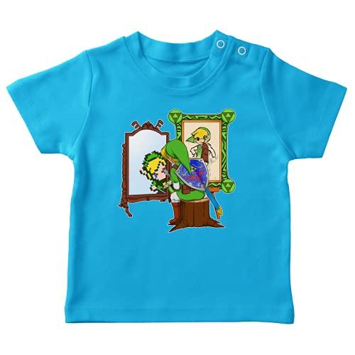 OKIWOKI Zelda Lustiges Türkis Baby T-Shirt - Link - Norman Rockwell style (Zelda Parodie signiert Hochwertiges T-shirt in Größe 18 monate - Ref : 804)