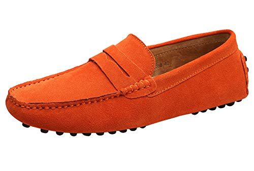 Santimon Mens Driving Penny Loafers Suede Leather Comfortable Casual Slip On Shoes Moccasins Orange 10 US