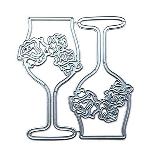 XIANGBEI Plantilla de corte de metal para decorar copas de vino, para álbumes de recortes, papel fotográfico, tarjetas, manualidades y representaciones en relieve, para hacer regalos de cumpleaños
