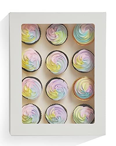 """Yotruth 10 PacksCupcake Boxes Hold 12 Cupcakes,White Bakery Boxes with Window 14""""x10""""x3.5"""" Cupcake Carriers Containers"""