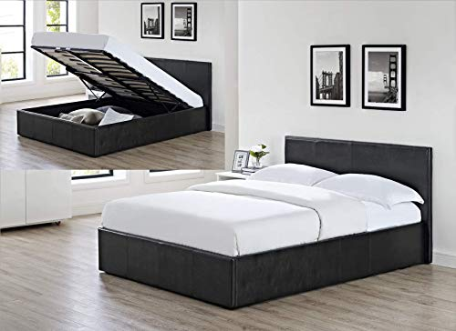 3ft Single Black Ottoman Lift Up Storage Faux Leather Bed + Combi Spring and Memory Foam Mattress - Also available in Brown or White - Master Bedroom Childrens Bedroom Teens Bedroom Guest Bedroom - Perfect for storing Shoes DVD's Bedding Clothes