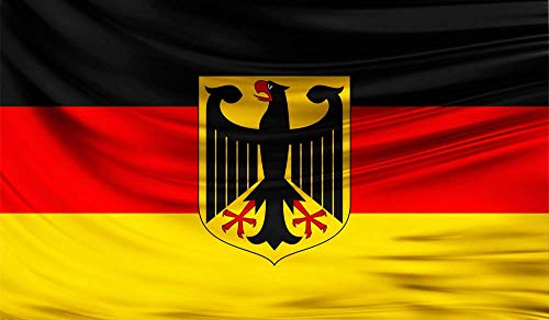 TK Gruppe Timo Klingler Flagge Deutschland mit Adler - Größe Fahne 150 * 90 cm - für innnen & außen - strapahrzierfähiges Polyester & Metallösen (mit Adler)