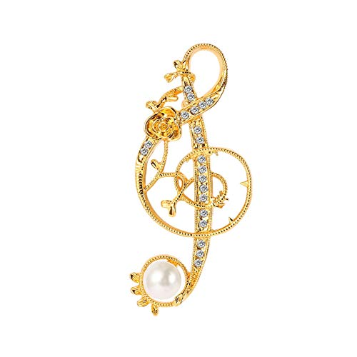 YSYSPUJ Brooch Gold Color Microphone Music Note Brooches Pin For Women Men Singer Party Concert Accessories Gift (Metal color : XZ906)
