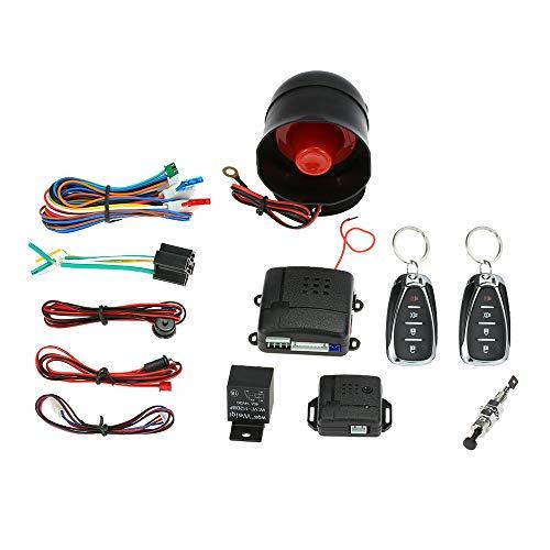 KKmoon Auto Alarmanlage Schutz Universal Diebstahlsicherung Sicherheitssystem mit 2 Fernbedienung Hupe Schlüssel