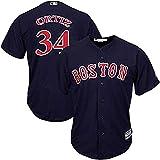 Xiaobudian Maglietta Personalizzata da Baseball Uniforme Uniforme Boston Red Sox T-Shirt Ricamata con Nome e Numeri per Uomo Donna Gioventù