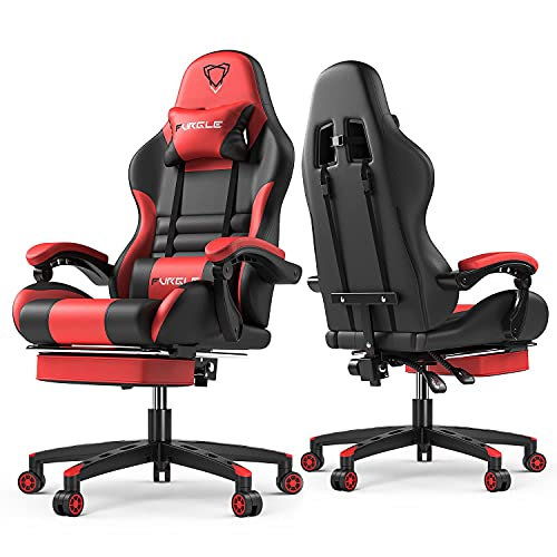 Furgle Gaming Stuhl Bürostuhl PC Stuhl Ergonomischer Gaming Stuhl Supersportwagen Designkonzept PU Leder verstellbare Armlehne mit Kopfstützen, verstellbaren Armlehnen und Fußstützen,Schwarz-Rot
