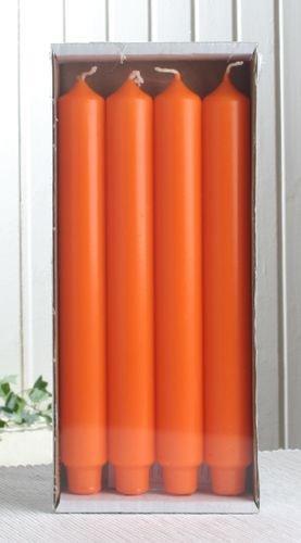 4x Stabkerze mit Zapfenfuß / Punchkerze, 25x3 cm mandarin-orange