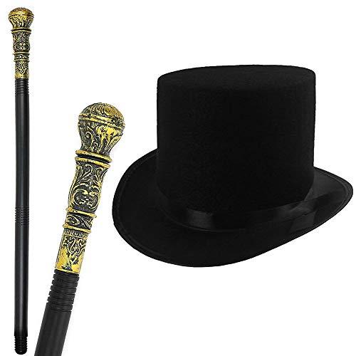 GrassVillage Victorian Style Adults / Kids Fancy Dress Set, Top Hat & Cane - PARTY, WORLD BOOK WEEK / HALLOWEEN KIT