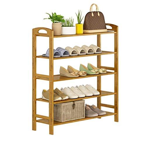 WMYATING Zapatero de almacenamiento simple y práctico, compacto de bambú natural de 5 niveles, organizador de zapatos de entrada, estante de almacenamiento para zapatos, libros y macetas