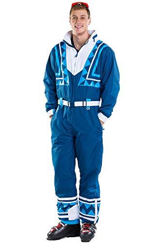 Men's Blue Bomber Retro Ski Suit - Vintage Inspired Snowsuit