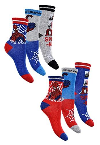 Sun City Spider-Man 6 Paar Kinder Socken Strümpfe Set für Jungen (27-30)