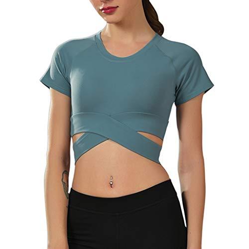 DEELIN Femme Sport T-Shirt O-Cou À Manches Courtes Cross Bandage Tops Yoga Fitness Entraînement Blouse Tees Couleur Unie Courts