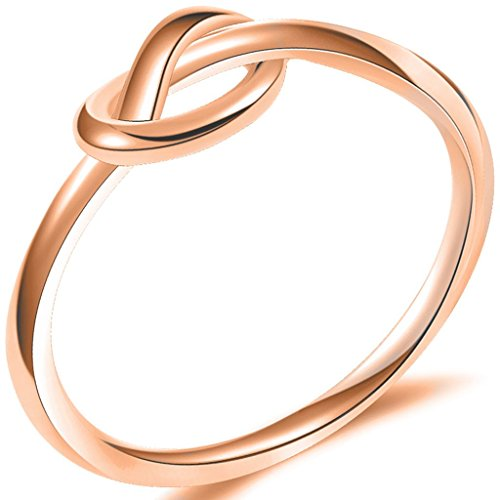 Jude Jewelers Size 3-13 Stainless Steel Simple Love Knot Celtic Promise Anniversary Statement Ring (Rose Gold, 7)