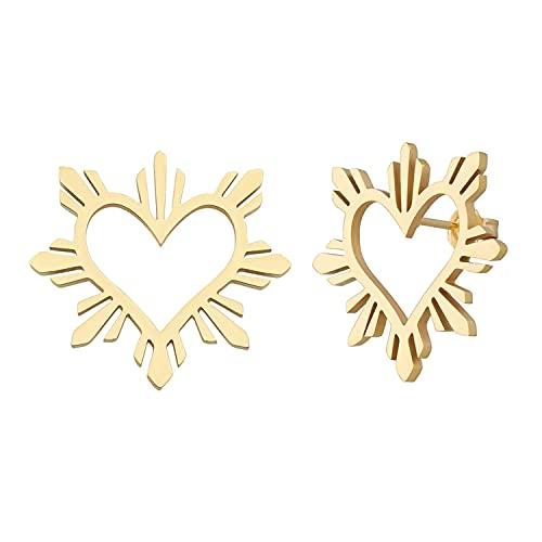 Philippine Heart Sun Earrings Filipino pride jewelry Filipina heritage flag (Gold Large)