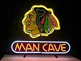 Queen Sense 14'x10' Chicago Blackhawk Hockey Man Cave Neon Sign Light Beer Bar Pub Real Glass Lamp DE31