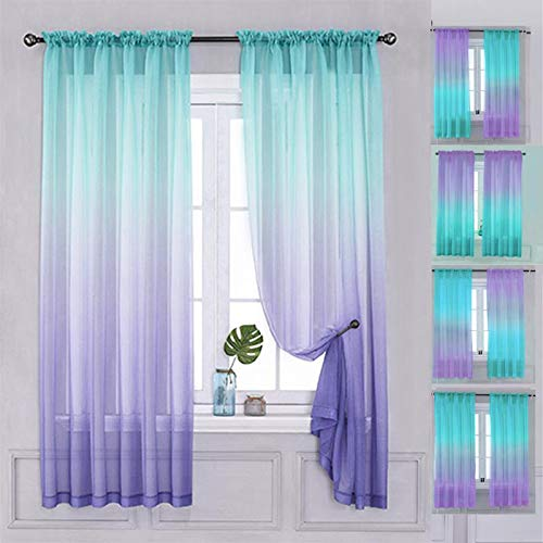 "Yancorp Semi Bedroom Curtains 63 inch Length Sheer Rod Pocket Curtain Linen Teal Turquoise Purple Ombre Girls Living Room Mermaid Bedroom Nursery Kids Decor (Turquoise Purple, 40""x63"")"