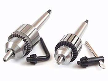 Jacobs Set of Two Drill Chucks with MT2 Morse Taper 2 Arbor and Keys 0 - 3/8  and 1/16  - 1/2  Capacity for Lathe Tailstock and Drill Press