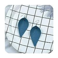 多色エスニックティアドロップブラブラステートメントイヤリングファム素朴なジュエリーファッションフェイクレザーリーフイヤリング、女性用、ブルー
